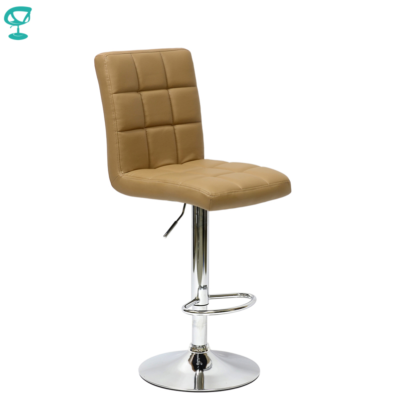 94789 Barneo N-48 Leather Kitchen Breakfast Bar Stool Swivel Bar Chair Light Brown Color Free Shipping In Russia