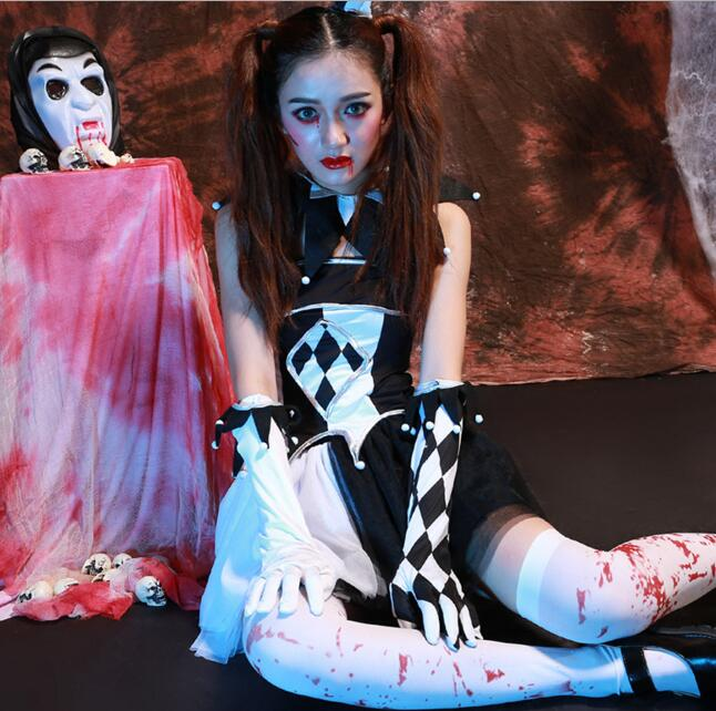 Харли Квинн костюм призрака для женщин Хэллоуин canival COS scarey Косплэй Fantasia Infa ...