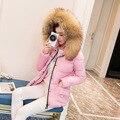 Mulheres Da Moda Casacos de inverno Curto Design Bonito Algodão Acolchoado Casacos Cor de Rosa Causual Hoodies Solto Acolchoado Parkas Quente Casaco Feminino