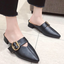 Women Mules Buckle Low Heel Ladies Slippers Outdoor Summer Mule Shoes Woman Pointed Toe Slides Sandal Leather Zapatos Mujer prova perfetto popular mesh polka dot slippers women sandal pointed toe kitten heel butterfly knot slides summer lady mules shoe