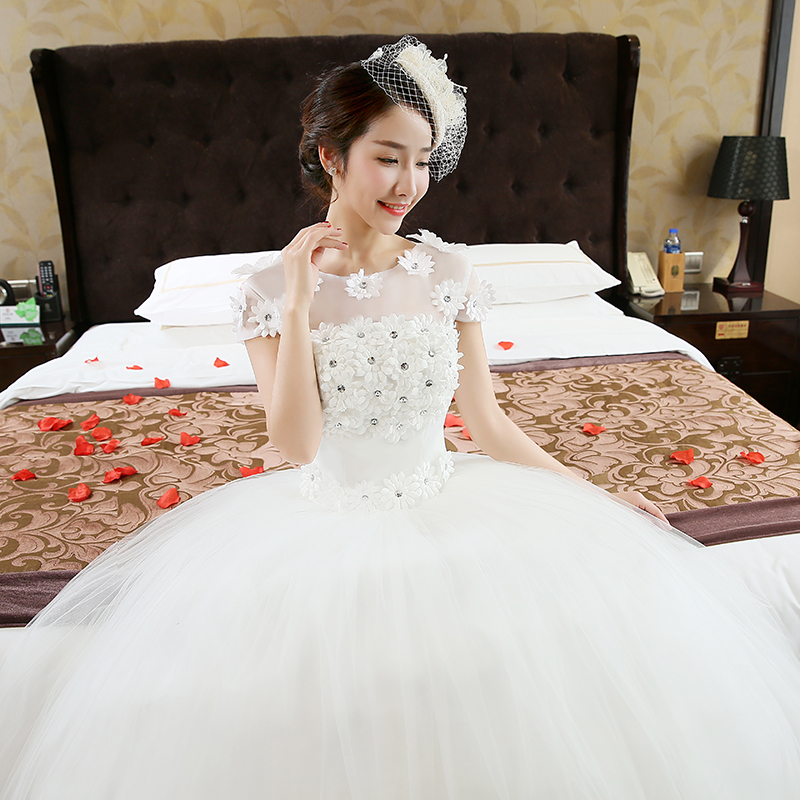Aliexpress.com   Buy Free Shipping Vestidos De Novia Real Photo Cheap O  neck Plus Size Wedding Dresses White Lace Short Sleeves Bridal Frocks HS215  from ... ce6343dfbe29