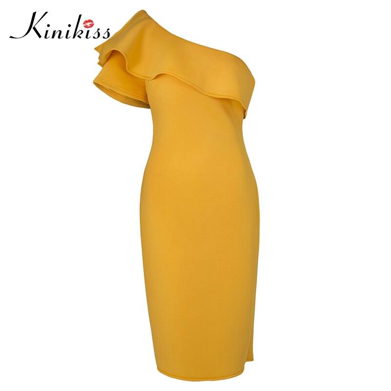 Kinikiss Women One Shoulder Party Dress Oblique Collar Elegant Yellow Purple Ruffle Dress Ladies Sexy Cocktail Bodycon Dress