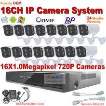 16 CH NVR Home DIY CCTV Network Video Recorder Security System NVR Kit 720P Waterproof Outdoor IR Night vision P2P IP Camera Kit