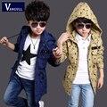 2016 otoño invierno moda escudo adicolo chicos 4-11 años de edad los niños de algodón Chaqueta Con Capucha de impresión estrellas