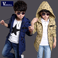 2016 outono inverno moda casaco adicolo meninos 4-11 anos de idade as crianças de algodão Casaco Com Capuz de impressão estrelas