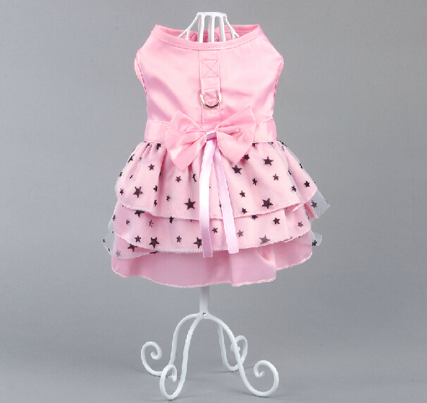 Newest Luxury Dring <font><b>Dog</b></font> <font><b>Harness</b></font> <font><b>Dresses</b></font> Pink Chiffon Pet <font><b>Dress</b></font> <font><b>Harness</b></font> XXS XS S M L XL image