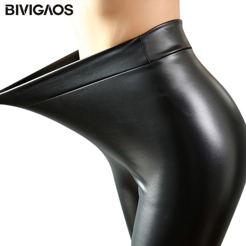 BIVIGAOS Fashion Women PU Leather Pants Elastic High Waist Winter Leggings Slim Velvet Leather Leggings Skinny Fleece Trousers 1