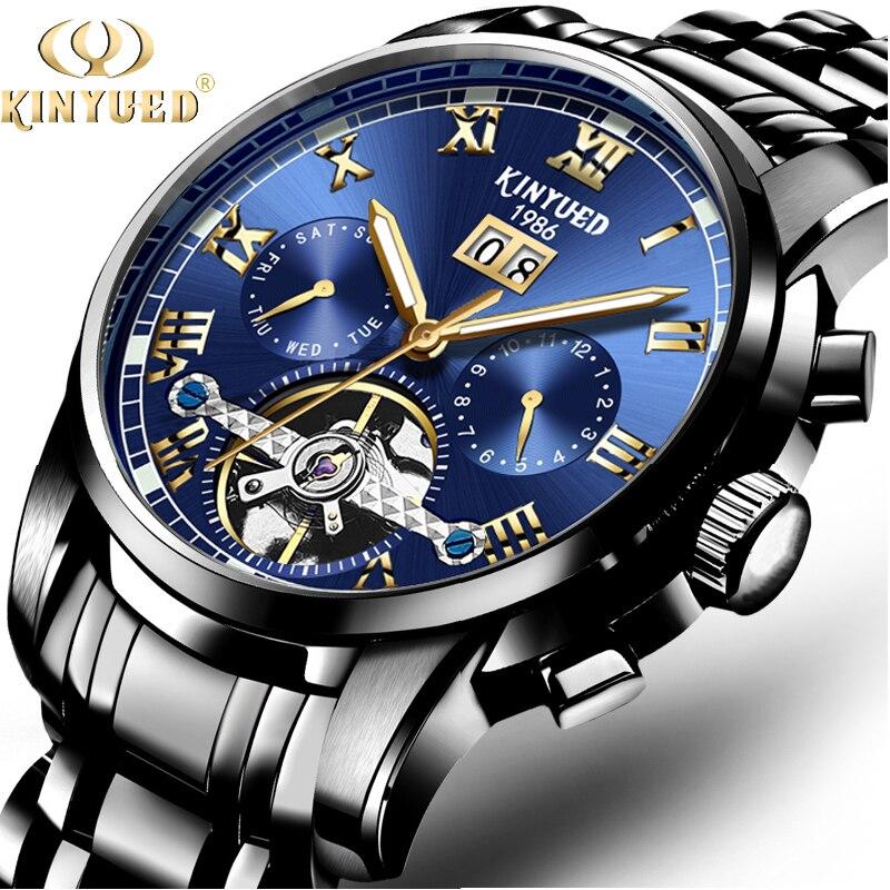 KINYUED Tourbillon Mens Mechanical Watches Business Stainless Steel Luminous Top Brand Watch Men Full Calendar Relogio Masculino