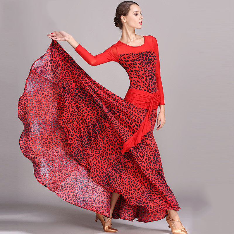 2018 Ballroom Dance Dress Long Sleeve Ice Silk Printing Waltz Standard Dance Dresses Ballroom Dancing Performance Clothes DN1251