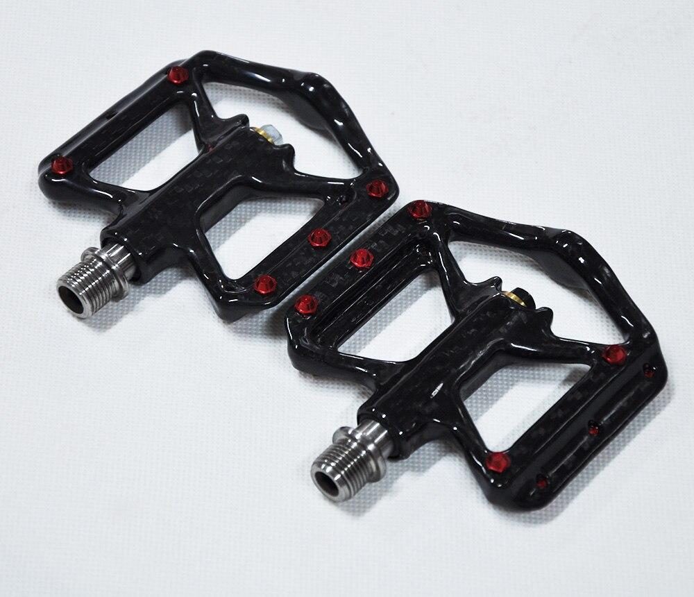 Nouvelles pédales de vélo Ultra légères pédales de plate-forme en Fiber de carbone légères trois roulements vtt vélo pédales de cyclisme essieu en titane 172G