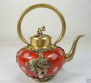 Китай старый коллекционные ручная фарфоровый чайник Бронированный дракон бабочка украшения сада 100% Настоящее Тибетский серебро латунь