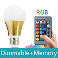 E27 rgb led 10W 16 color changeable With 24keys IP remote control rgb led bulb light Dimmable 110v 220v rgb led lamp with memory