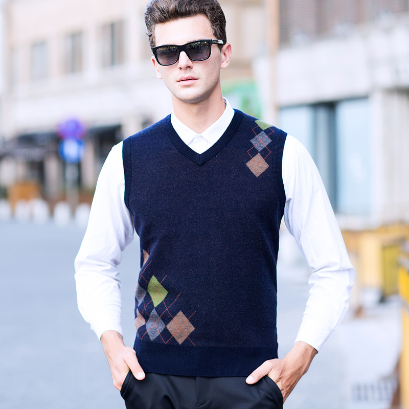 100% Wool Casual Vest Classic Design Men's V-neck Sleeveless Knitting Vest Men's Formal Plaid Sweater High-end Male's Clothing