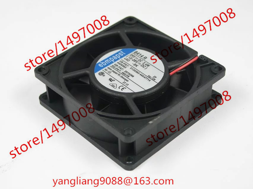 Free Shipping For ebmpapst TYP 8414R 8414 R DC 24V 2.4W 2-wire 2-pin connector 80X80X25mm Server Square Cooling Fan free shipping for delta afc0612db 9j10r dc 12v 0 45a 60x60x15mm 60mm 3 wire 3 pin connector server square fan