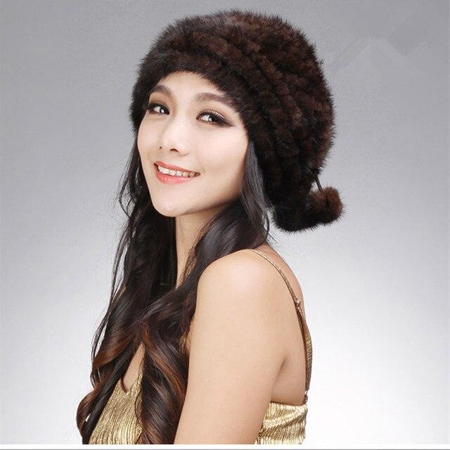 Luxury Winter Women's Genuine Real Knitted Mink Fur Beanies Hats Lady Warm Caps Female Headgear VF0605