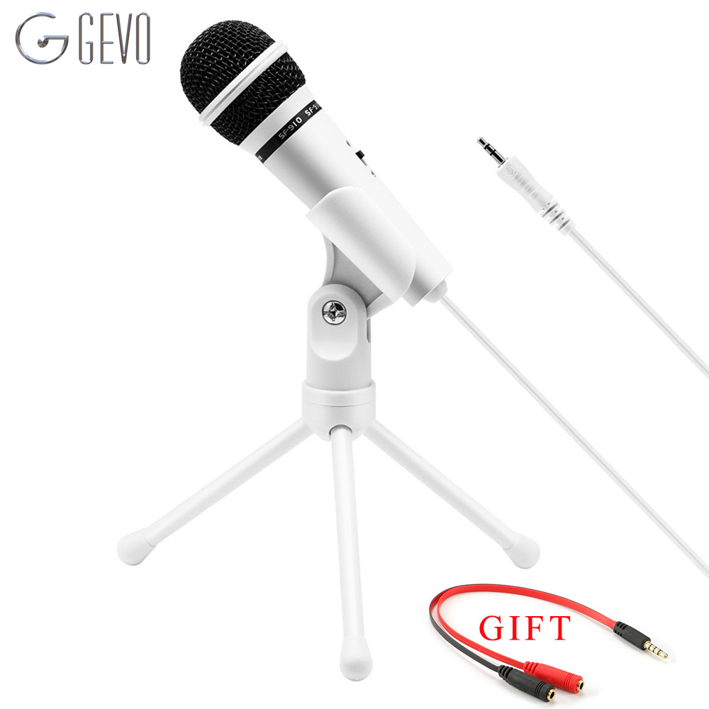 GEVO SF-910 Microphone For Phone 3.5mm Cable Wired With Tripod Stand PC Mic For Computer Laptop Karaoke Studio Desktop Recording