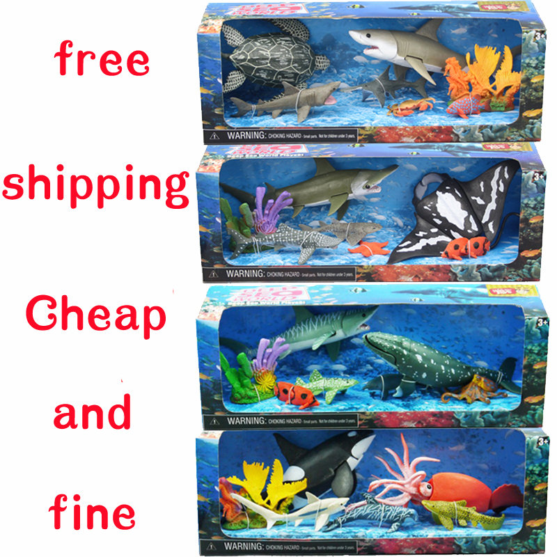 Marine animal toy model of movable joints good quality big killer whale shark octopus dolphins squid coral animals art