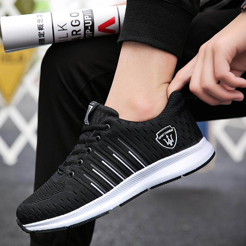 Spring new mens sports running shoes breathable low to help tie travel health shoes