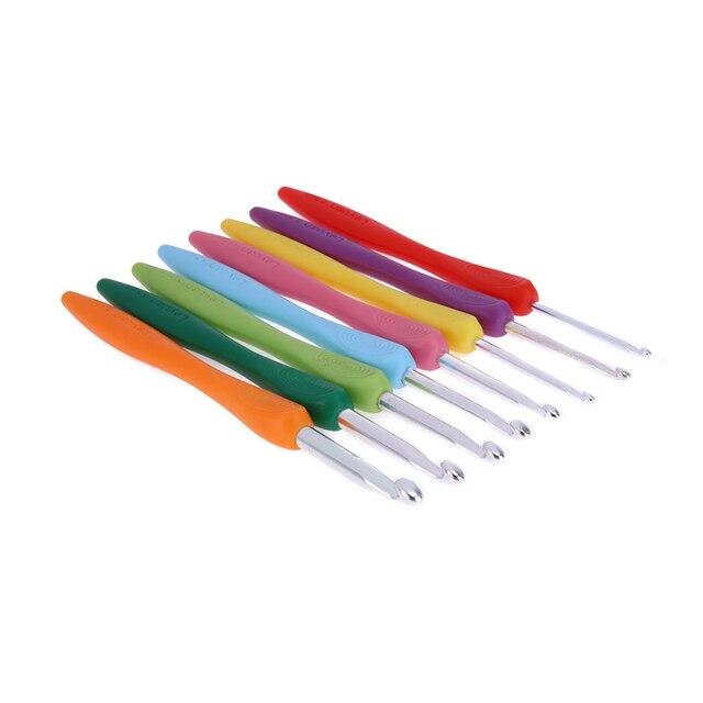 Uncinetto Set 2.5-6.0mm 8 pz/set di Alluminio Ergonomico Crochet Aghi Colorato con Impugnatura In Gomma Morbida Imbottito Maniglie aghi 1