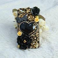 3Dหัวใจดอกไม้คาโบชองRhinestones DIYกรณีโทรศัพท์มือถือสำหรับg alaxy s6 s8 S7ขอบสำหรับโทรศัพท์6วินาที7พลัส