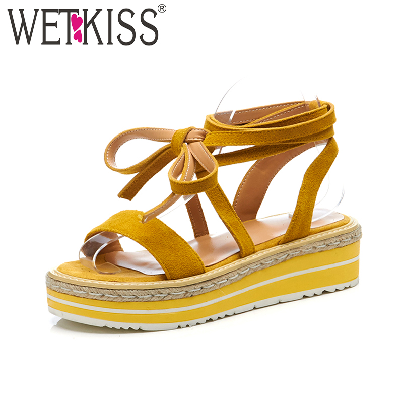 WETKISS New Cow Suede Summer Women Sandals Wedges Straw Weave Platform Footwear Fashion Casual High Heels Cross Strap Girl Shoes phyanic 2017 gladiator sandals gold silver shoes woman summer platform wedges glitters creepers casual women shoes phy3323