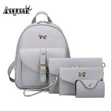 Aequeen 4 шт. женские рюкзаки Набор PU Кожа Композитный сумка рюкзак бантом плеча колледж школьные сумки для девочек Mochila лук