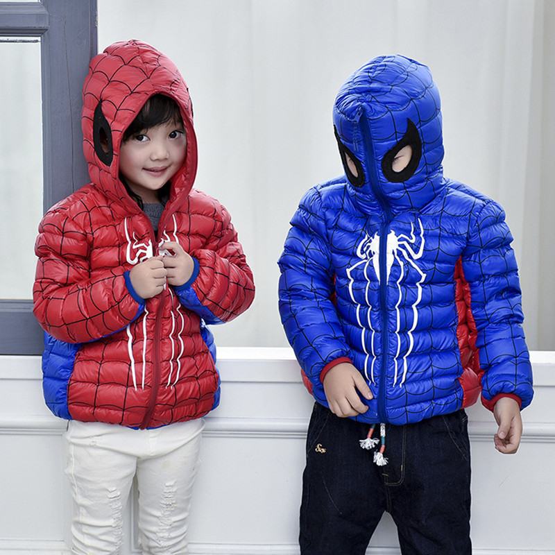 2016 Autumn Winter Children Down Jacket Fashion Hooded Short Coat Spiderman Thin Girl Down Coat And