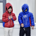 2016 Autumn Winter Children Down Jacket Fashion Hooded Short Coat Spiderman Thin Girl Down Coat And Jacket Boy Red Blue