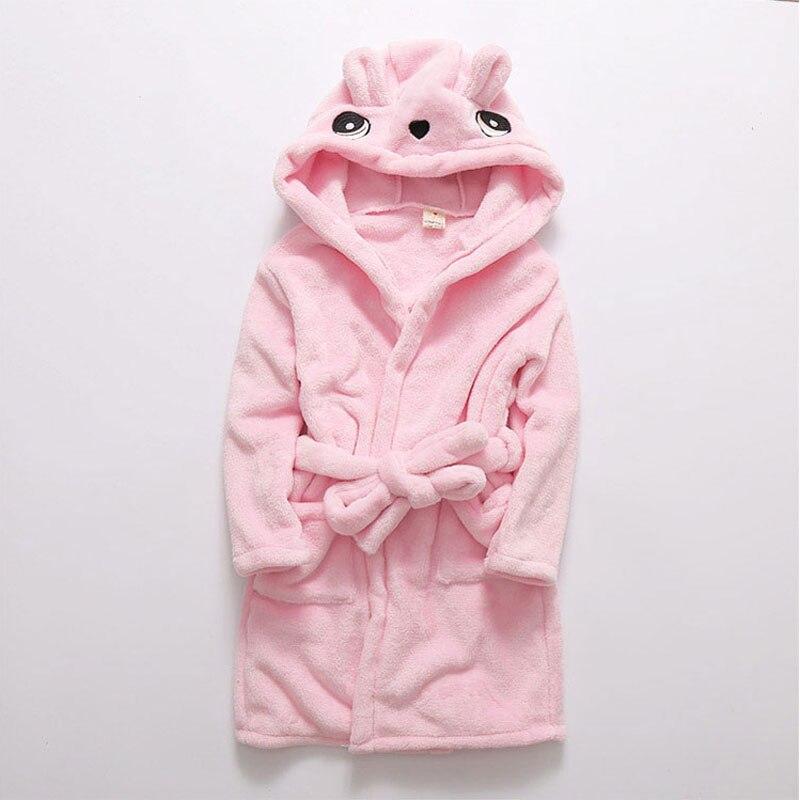 Hot Fashion Spring Kids Fleece Bathrobe Toddler Hooded Bathrobe Girls Pink Robe Children Robes Cartoon Panda Baby Robes
