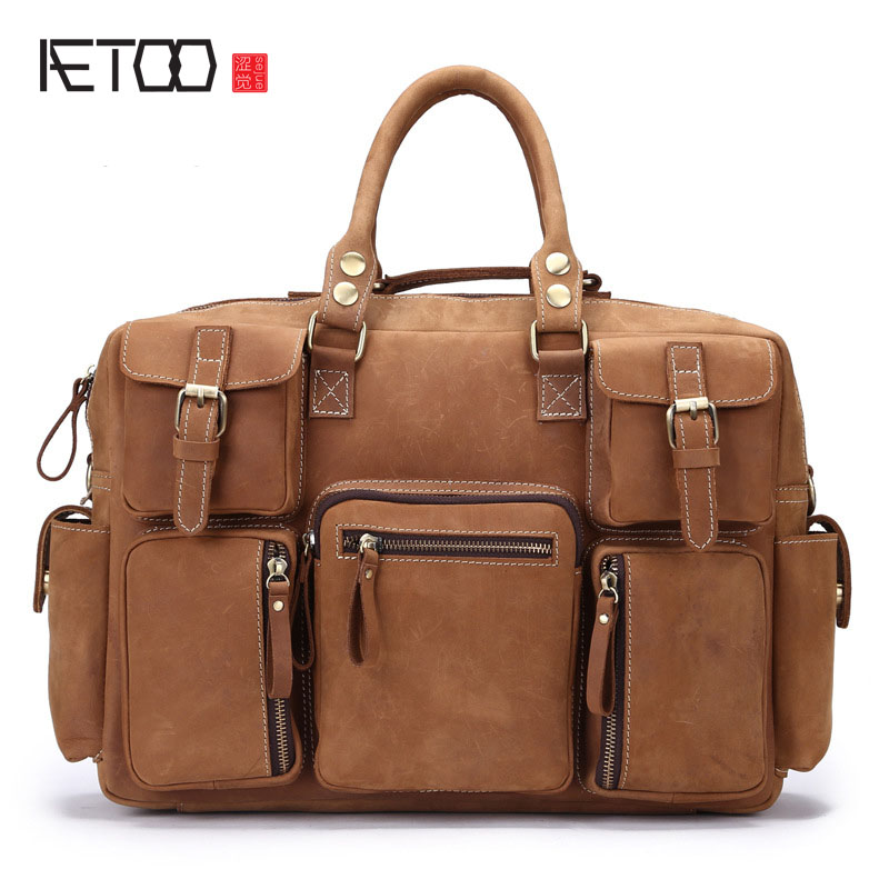 AETOO Mad horse skin men's travel bag retro documents handbag handmade leather shoulder bag business travel male package цена