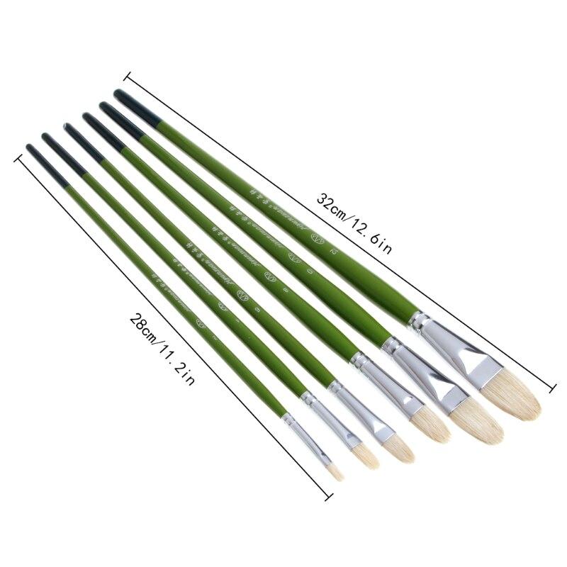6Pcs Art Painting Brushes Oil Watercolor Drawing Craft Tool DIY Kid Hog Hair Paint Brushes Painting Tool Kit