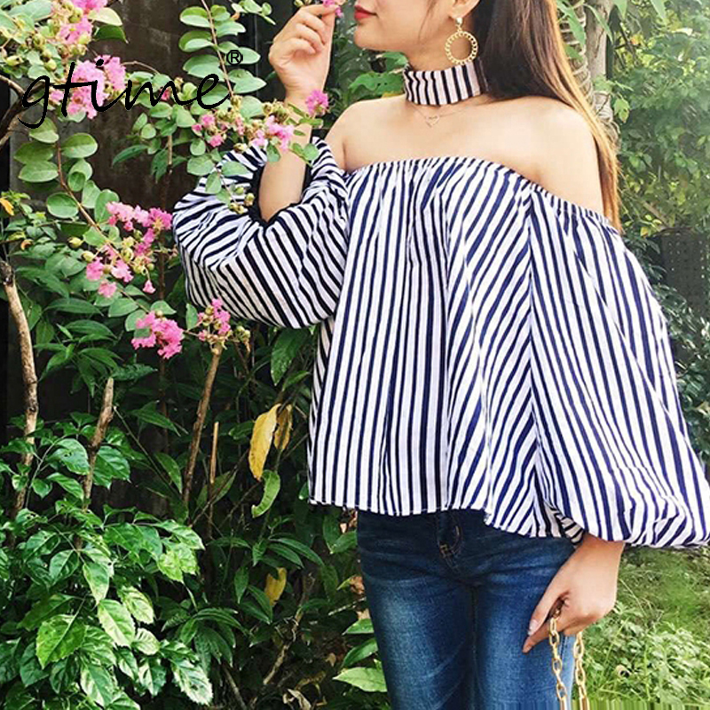 Lattern Women Blusas New Sleeve Zkqs58 Off Striped Shirt Gtime Cool Sexy Casual Halter Shoulder Blouse Tops v6woA8xqa