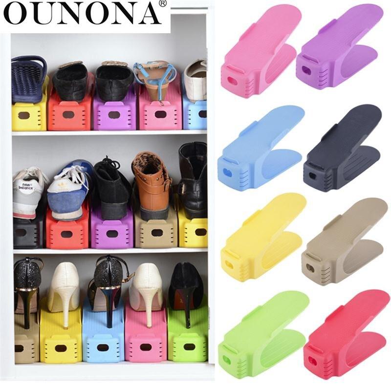 OUNONA 1 Pack Kunststoff Schuhe Lagerung Rack Shleves Doppel-Breite Schuh Halter Speichern Raum Schuhe Organizer Stehen Regal für wohnzimmer