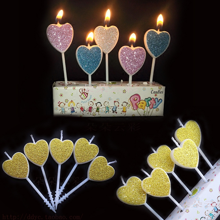 Flash powder five sticks love birthday candles golden pink blue cute children's Valentine cake decoration confession