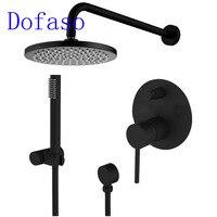 Dofaso Brass Black Shower Set bath spout Faucet Ceiling Wall Arm Diverter Mixer Solid Brass Overhead Handheld Shower Head 8 Inch