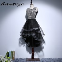 Short black homecoming dresses 2017 with crystals beaded sexy backless tulle mini cocktail party graduation prom.jpg 200x200