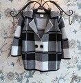 2017 Primavera Outono Crianças Bebê Meninas Meninos Roupas Kniting Camisola xadrez casaco