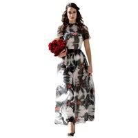DF High Quality Newest 2017 Summer Chiffon O Nexk Long Dress Women S Short Sleeve Printed
