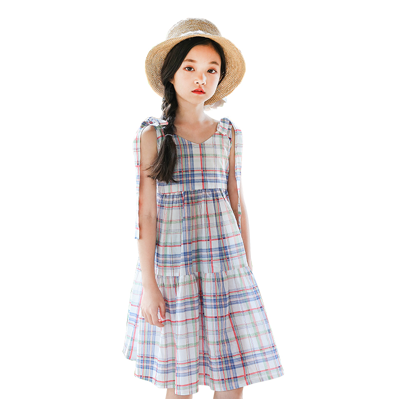 Summer Girls Dress Cotton Plaid Strap Dress Bohemian Sleeveless Beach Style Children Clothing For 6y 14y