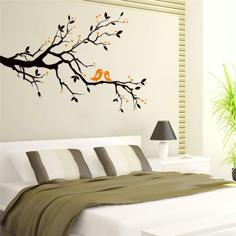 Black Tree Bird Animal Branch Wall Stickers Living Room Decor Diy Home Decals Animals Cartoon
