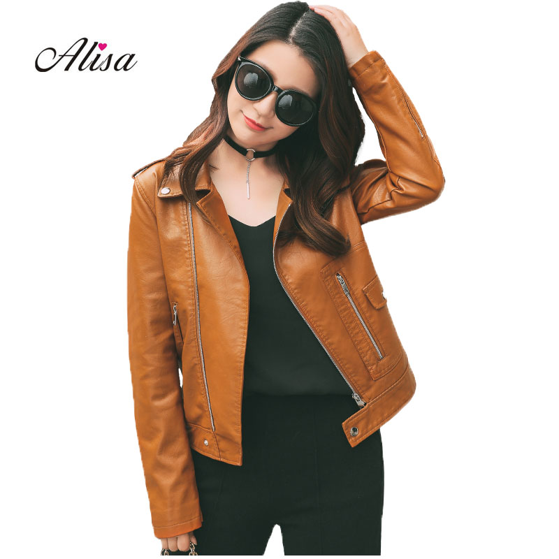 New 2018 Spring Autumn Pu Coats Women Causal   Leather   Jackets Ladies Long Sleeve Turn Down Collar Red Brown Pu   Leather   Jackets