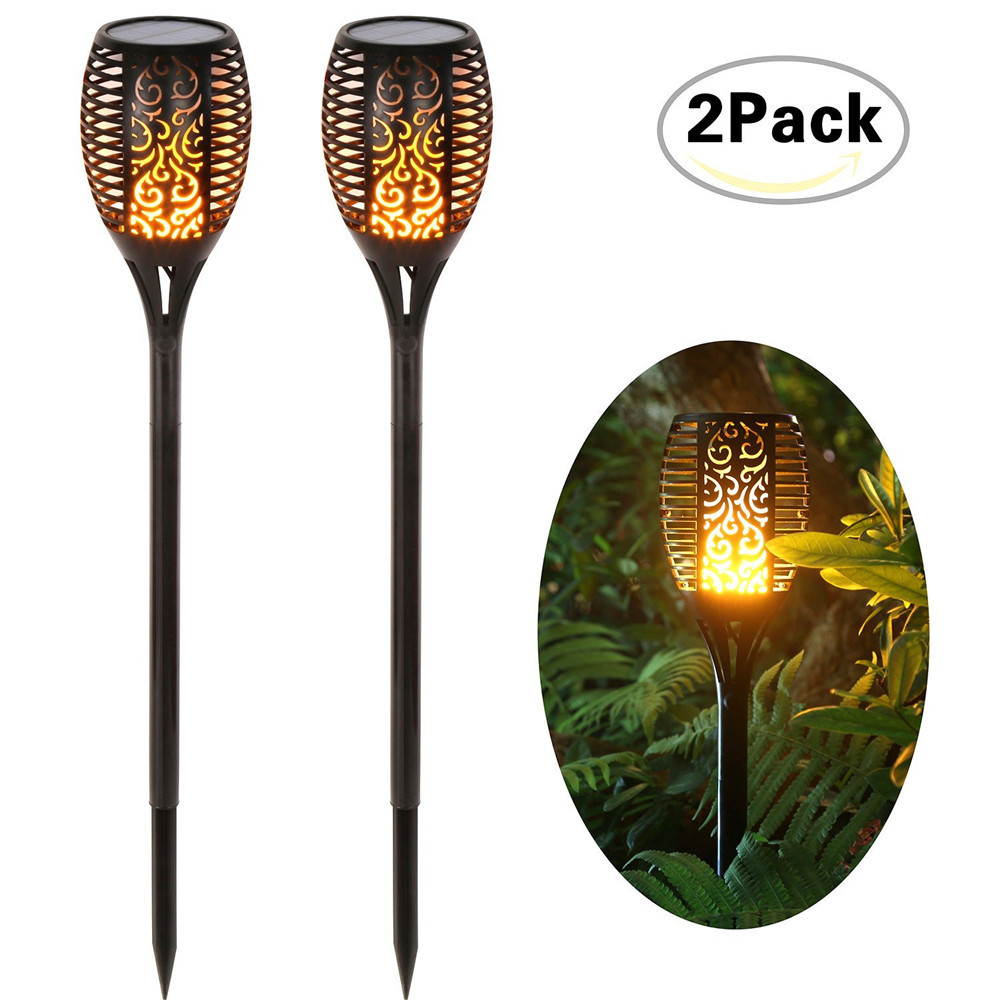 IP65 Flickering Solar Torches Lights, Waterproof LED Dancing Flame Torches Solar Lights Landscape For Garden Path Driveway jmkmgl solar flame lights path dancing flame lighting 66 led dusk to dawn flickering outdoor waterproof fence garden wall lights