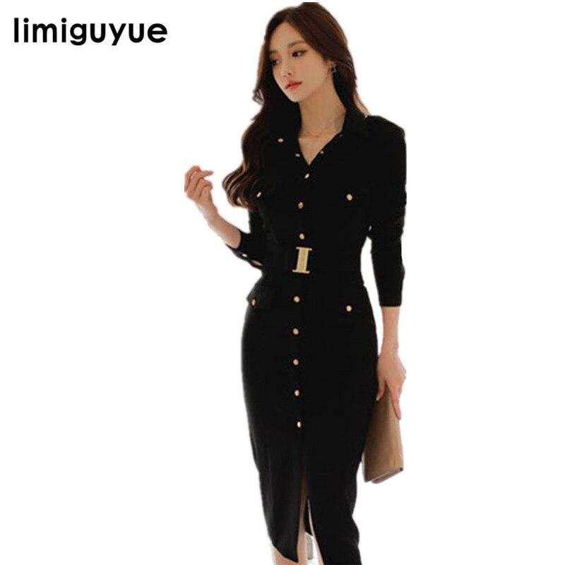 cc98e5aed4 limiguyue japan korea style single button black long dress women vestidos  split business party dress office pencil dress W341 ~ Best Deal June 2019
