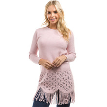 tassel long woman sweater fashion sleeve o-neck solid casual slim female cute hollow out