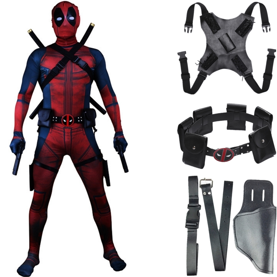 Deadpool Costume Accessories Belt Waist Bags Back Strap Holster Cosplay Bodysuit Prop Kids Adult