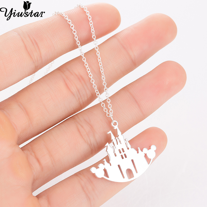 Yiustar Geometric Hollow Castle Necklace for Women Tiny Mickey Castle in Moon Pendant Necklaces Women jewellery Collier Femme