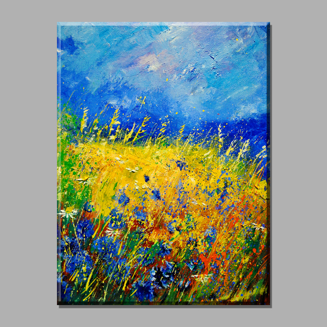 Abstract Blue Sky Blue Flower Scenery Canvas Art Vintage Home