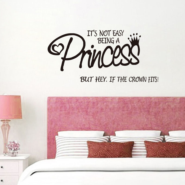 Itu0027S Not Easy Being A Princess Wall Stickers For Girls Bedroom Vinyl Wall  Decals Quotes Inspirational