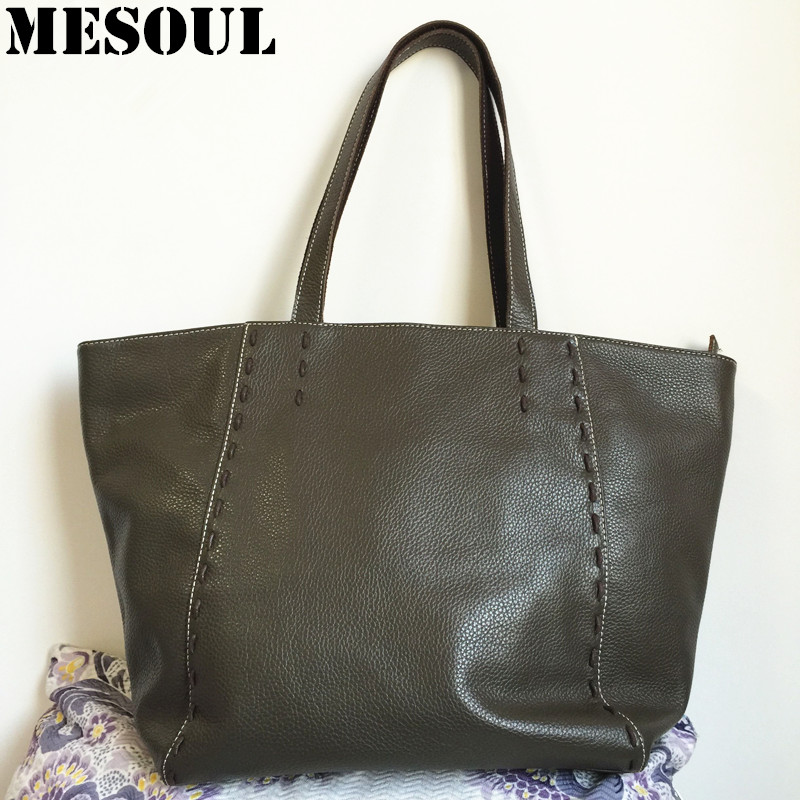 MESOUL Bags Handbags Women Famous Brands Genuine Leather Shoulder Bags Fashion High Quality Designer Large Capacity Casual Tote 2018 soft genuine leather bags handbags women famous brands platband large designer handbags high quality brown office tote bag