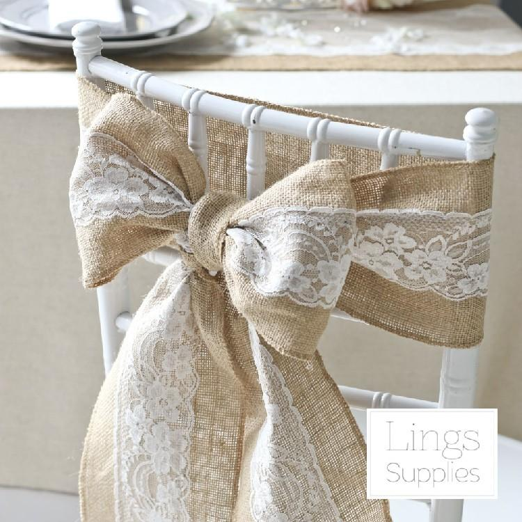 10pcs lot lace burlap chair sashes cover hessian jute linen rustic tie for wedding banquet home